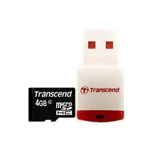 Фото Карта памяти Transcend microSDHC 4GB Class 10 (с кардридером RDP3) (TS4GUSDHC10-P3)