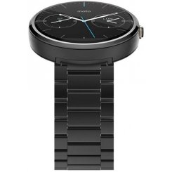 Фото Умные часы Motorola Moto 360 Stainless Steel with Dark Finish Black