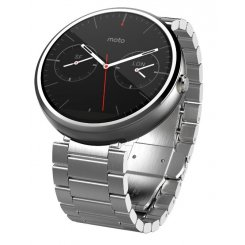 Фото Умные часы Motorola Moto 360 Stainless Steel with Light Finish Slim Band Natural