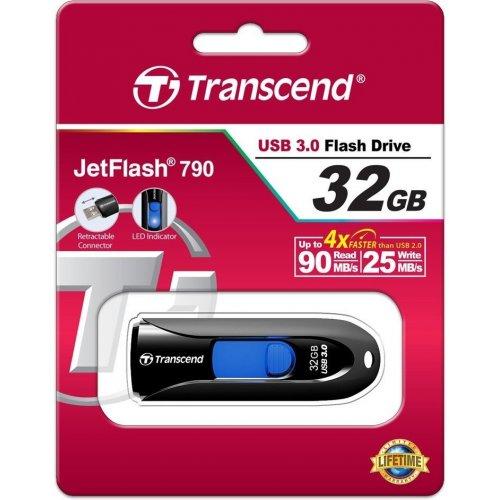 Фото Накопитель Transcend JetFlash 790 USB 3.0 32GB Black (TS32GJF790K)