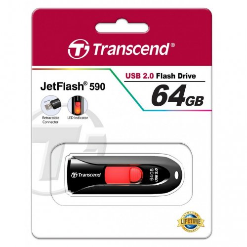 Фото Накопитель Transcend JetFlash 590 64GB Black (TS64GJF590K)