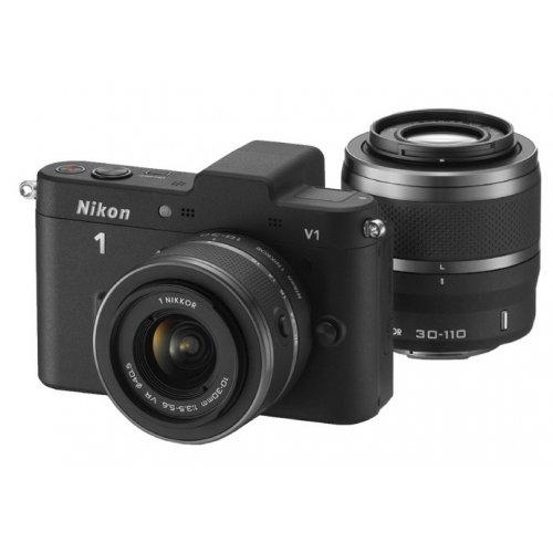 Фото Цифровые фотоаппараты Nikon 1 V1 10-30 VR + 30-110 VR Kit Black