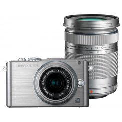 Фото Цифровые фотоаппараты Olympus Pen E-PL3 14-42 + 40-150 Kit Silver/Silver