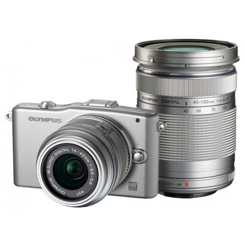 Фото Цифровые фотоаппараты Olympus Pen E-PM1 14-42 + 40-150 Kit Silver/Silver