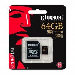 Фото Карта памяти Kingston microSDXC 64GB Class 10 UHS-I (с адаптером) (SDCA10/64GB)