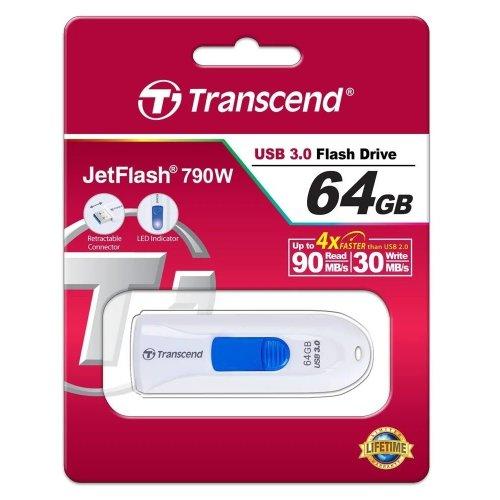 Фото Накопитель Transcend JetFlash 790 USB 3.0 64GB White (TS64GJF790W)
