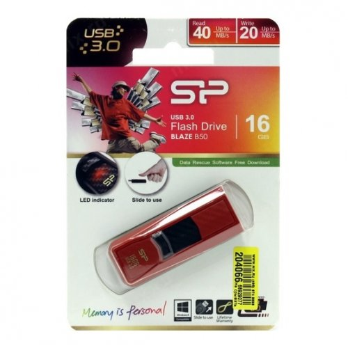 Фото Накопитель Silicon Power Blaze B50 USB 3.0 16GB Red (SP016GBUF3B50V1R)