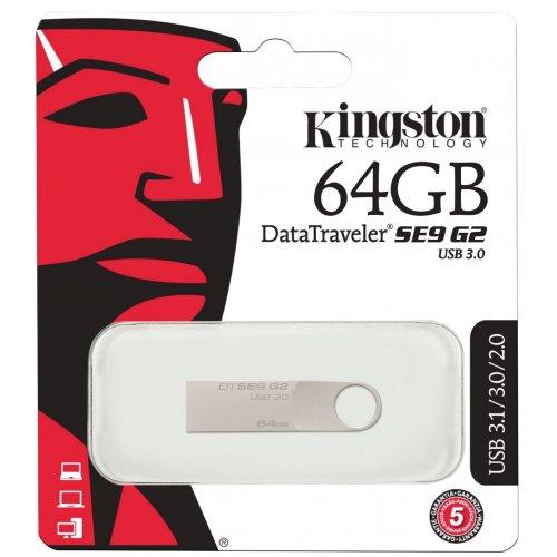 Фото Накопитель Kingston DataTraveler SE9G2 USB 3.0 64GB Silver (DTSE9G2/64GB)