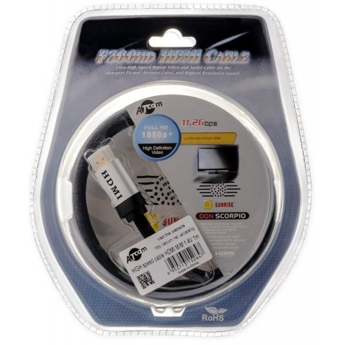 Фото Кабель ATcom HDMI-HDMI 1m v1.4 High Speed UHD 4K (15264) Blister