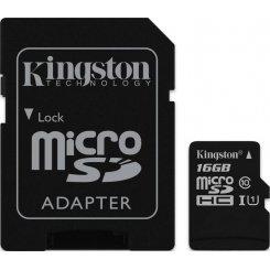 Фото Карта памяти Kingston microSDHC 16GB Class 10 UHS-I (с адаптером) (SDC10G2/16GB)