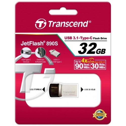 Фото Накопитель Transcend JetFlash 890S 3C/USB 3.1 32GB Metal (TS32GJF890S)