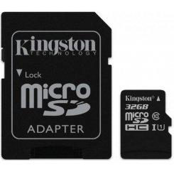 Фото Карта памяти Kingston microSDHC 32GB Class 10 UHS-I (с адаптером) (SDC10G2/32GB)