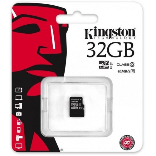 Фото Карта памяти Kingston microSDHC 32GB Class 10 UHS-I (без адаптера) (SDC10G2/32GBSP)