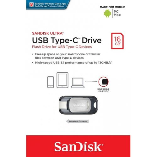 Фото Накопитель SanDisk USB Ultra Type C 16 Gb USB Type-C (SDCZ450-016G-G46)