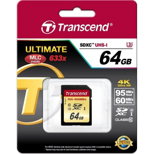 Фото Transcend SDXC C10 64GB UHS-I U3 R95/W60MB/s 4K (TS64GSDU3)