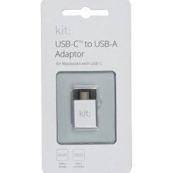 Фото Адаптер Kit Premium USB-C to USB-A 3.1 Silver
