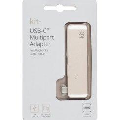 Фото Адаптер Kit Multiport USB-C to USB-A 3.0 Gold