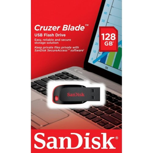 Фото Накопитель SanDisk Cruzer Blade 128GB USB 2.0 Black Red (SDCZ50-128G-B35)