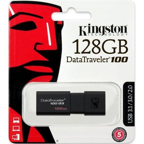Фото Накопитель Kingston DataTraveler 100 G3 128GB USB 3.0 Black (DT100G3/128GB)