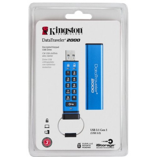 Фото Накопитель Kingston DataTraveler 2000 32GB USB 3.0 Blue (DT2000/32GB)