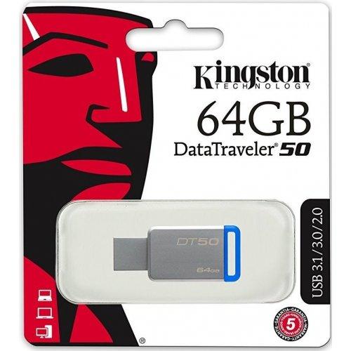 Фото Накопитель Kingston DataTraveler 50 64GB USB 3.0 Silver (DT50/64GB)