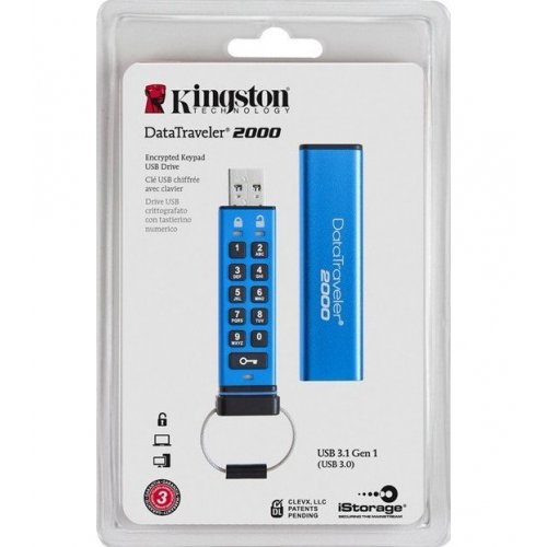 Фото Накопитель Kingston DataTraveler 2000 64GB USB 3.0 Blue (DT2000/64GB)