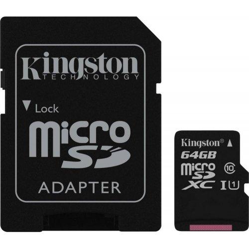 Фото Карта памяти Kingston microSDXC 64GB Class 10 UHS-I (с адаптером) (SDC10G2/64GB)