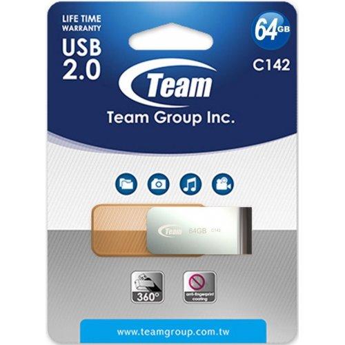 Фото Накопитель Team C142 64GB USB 2.0 Brown (TC14264GN01)