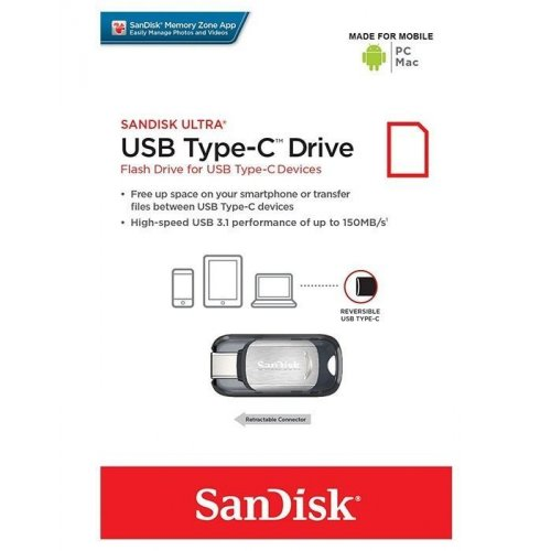Фото Накопитель SanDisk Ultra Type-C 128GB USB 3.0 (SDCZ450-128G-G46)