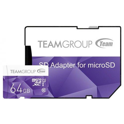 Фото Карта памяти Team microSD 64GB Class10 UHS-I (с адаптером) (TCUSDX64GUHS41)