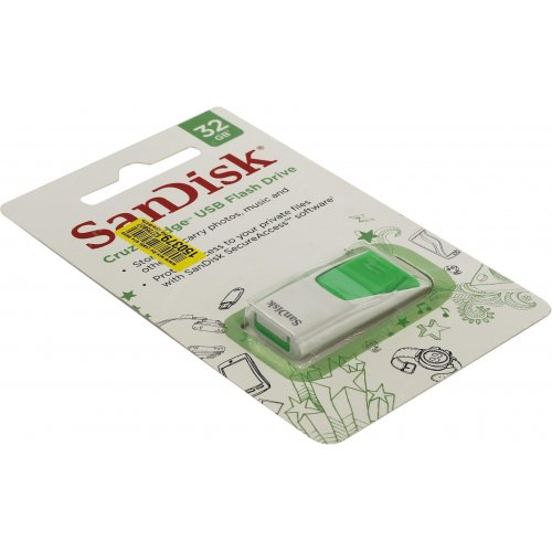 Фото Накопитель SanDisk Cruzer Edge 32GB USB 2.0 Green (SDCZ51W-032G-B35G)