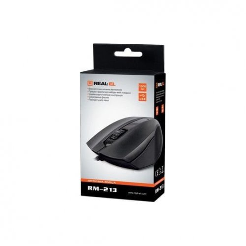 Фото Мышка REAL-EL RM-213 USB Black