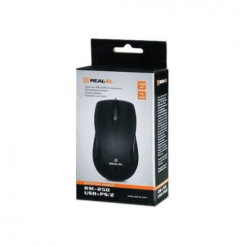 Фото Мышка REAL-EL RM-250 USB+PS/2 Black