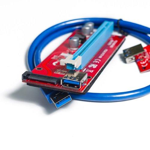 Фото Райзер T-Riser PCI-E 1x to 16x 60cm v.07S Red