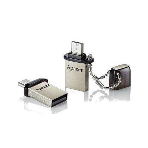 Фото Накопитель Apacer AH175 16GB USB 2.0/microUSB Silver (AP16GAH175B-1)