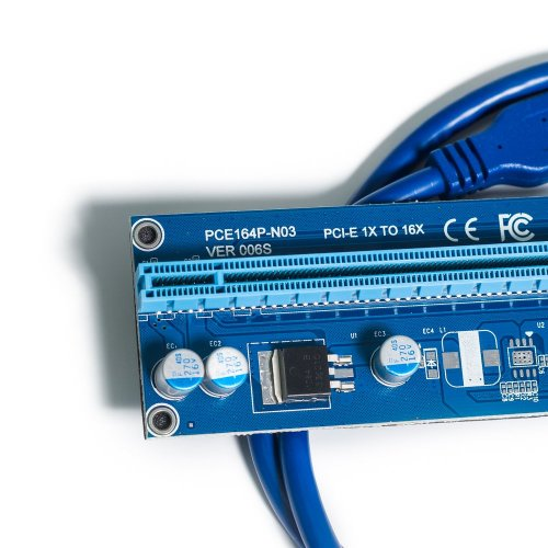 Фото Райзер T-Riser PCI-E 1x to 16x 60cm v.06 90° Blue
