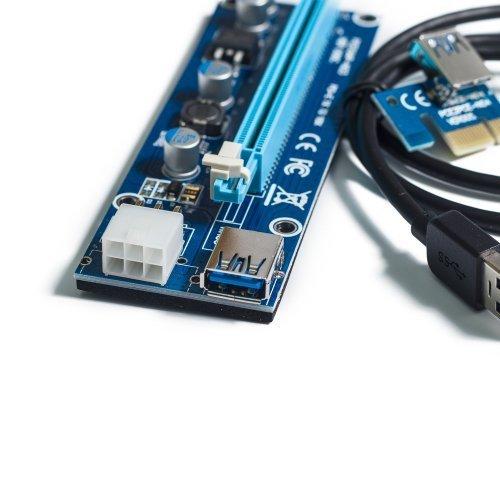 Фото Райзер T-Riser PCI-E 1x to 16x 60cm v.06 6-pin Blue/Black