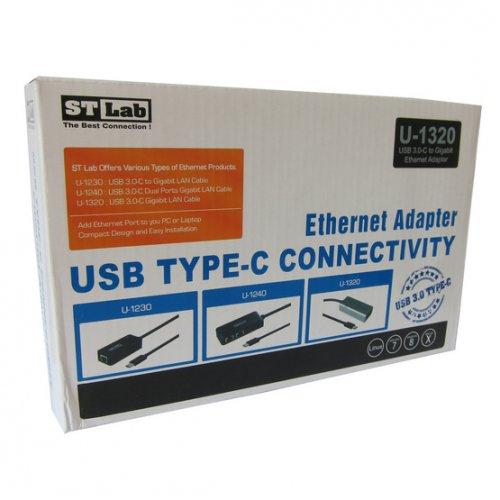 Фото Кабель STlab USB 3.1 to LAN 0,2m 1000Mb/s, Type-C (U-1320) Silver