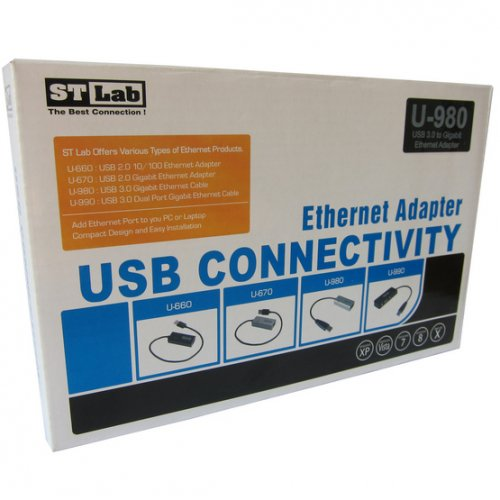 Фото Адаптер STlab USB 3.0 to LAN 0.2m 1000Mb/s (U-980) Silver