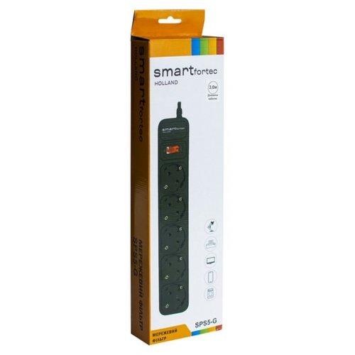 Фото Сетевой фильтр Smartfortec 3м 5 розетки (SPS5-G-10B) Black