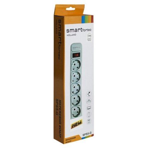 Фото Сетевой фильтр Smartfortec 3м 5 розетки (SPS5-G-10G) Gray