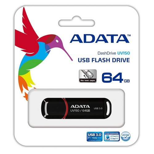 Фото Накопитель A-Data UV150 64GB USB 3.0 Black (AUV150-64G-RBK)