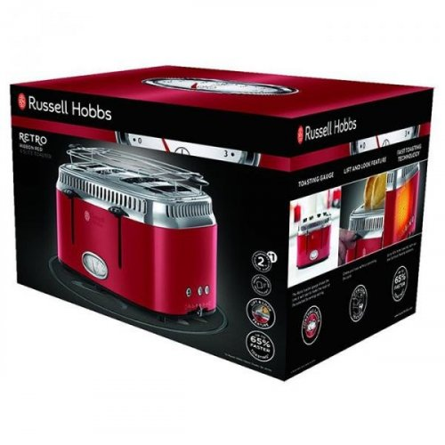 Фото Тостер Russell Hobbs 21690-56 Retro 4 Slices Ribbon Red