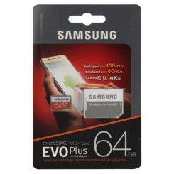 Фото Карта памяти Samsung Evo Plus microSDXC 64GB Class 10 UHS-I U3 R100/W60MB/s (с адаптером) (MB-MC64GA/RU)