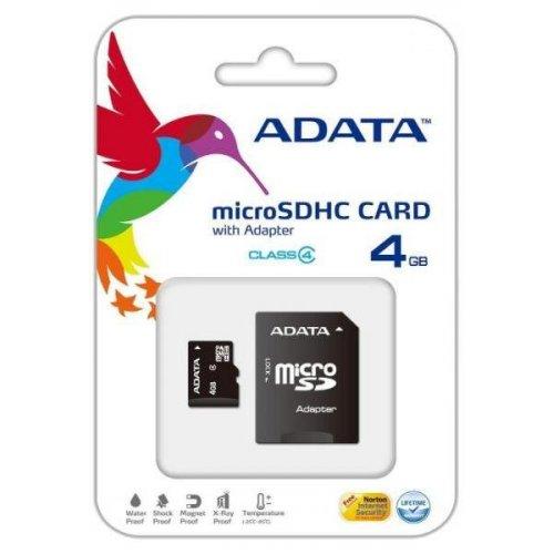 Фото Карта памяти A-Data microSDHC 4GB Class 4 (с адаптером) (AUSDH4GCL4-RA1)