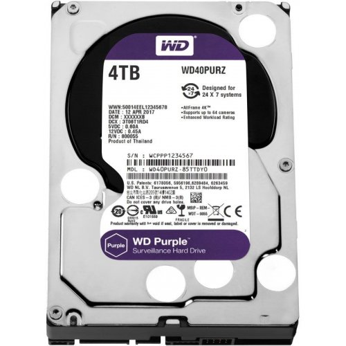 Фото Жесткий диск Western Digital Purple 4TB 64MB 5400RPM 3.5'' (WD40PURZ)