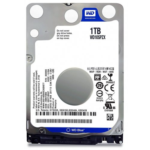 Купить Жесткие диски, Western Digital Blue 1TB 128MB 5400RPM 2.5'' (WD10SPZX)