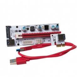 Фото Райзер T-Riser PCI-E 1x to 16x 60cm v.08 6-pin/Molex/Sata White