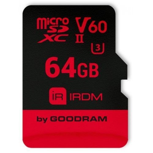 Фото Карта памяти GoodRAM microSDXC IRDM 64GB UHS II V60 U3 R280/W110 (с адаптером) (IR-M6BA-0640R11)