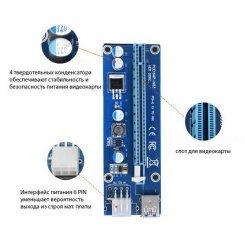 Фото Райзер Dynamode PCI-E 1x to 16x 60cm v.06 6-pin Blue/Black